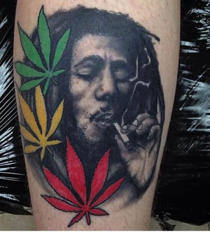 Bob Marley Portrait TattooThe man, the myth, the legend. Bob Marley was at the center of the ganja debate, and he took his beliefs to the grave – literally. Rumor has it,he was buried with a bud of marijuana.