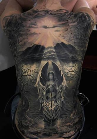 This is an amazing angelic back piece.