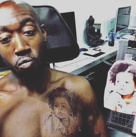 "Photo: Freddie Gibbs/Instagram""Gangsta"" Freddie Gibbs took to Instagram on March 12 to show off his fresh ink, which features a detailed black and grey portrait of his nearly-two-year-old daughter, Irie Jane Gibbs, on the left side of his chest."
