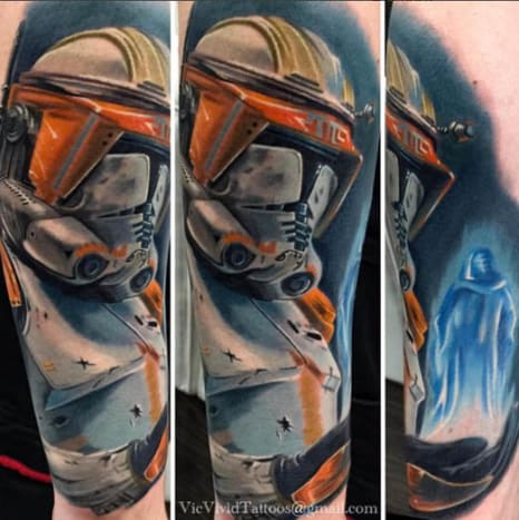 Vic Vivid shared this tattoo of a Clone Trooper about to execute Order 66.
