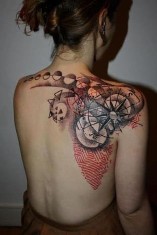 Don't know where you're going? Consult this compass tattoo.