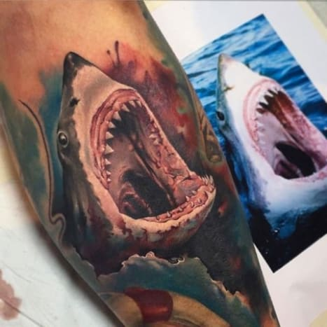 A shark can grow more than 20,000 teeth in its lifetime... Tattoo by Benjamin Laukis