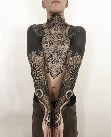 Crone's work blends seamlessly throughout this man's entire body.