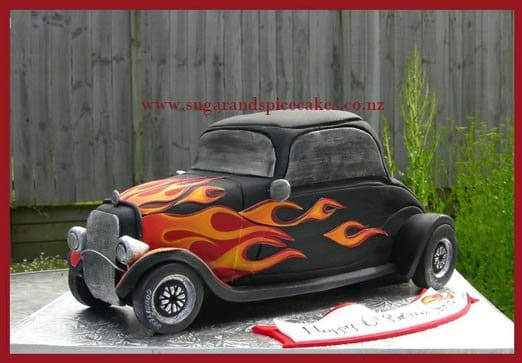 This cake looks like it's ready to burn rubber out of the kitchen. Cake by Sugar and Spice Cakes.