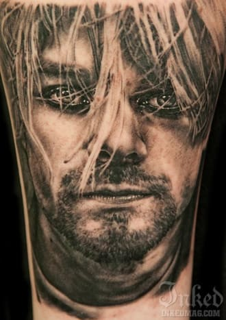 This intense portrait of Kurt was tattooed by Andy Engel.