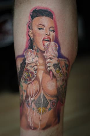 This tattoo of beloved Inked cover girl Christy Mack was done by Chad Jacob.
