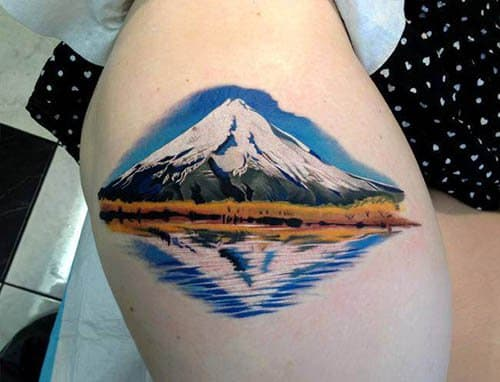 Pepa from Bohemian Arts in New Zealand did an amazing job creating the reflection of the mountain in this tattoo.