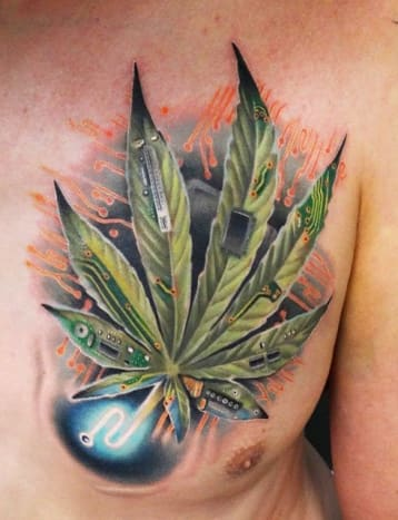 The incomparable Andres Acosta created this tattoo blending marijuana and technology.