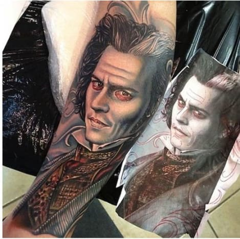 This Sweeney Todd tattoo is impeccable.