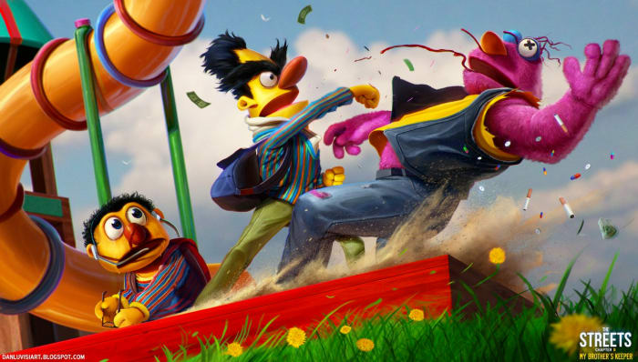Bert showing Tullywho's boss. Ernie clearly stunned as hell. The best part: It's going down in the sandbox.