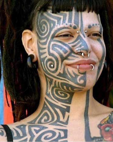 Photo via tat trendsThis girl has had her face tattooed long before it was trendy. Also her facial tattoo was her first tattoo!