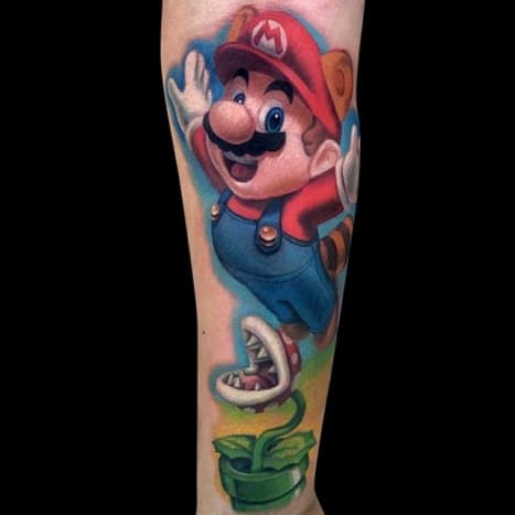 Raccoon Mario was introduced in Super Mario Bros. 3. He can float and attack enemies with his tail. Tattoo by Jamie Lee Parker