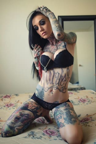 INKED cover girl Rachelle Hoffman has an impressive collection of horror tattoos.