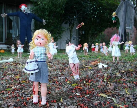 Repurpose your daughter's dolls for a frightening display.