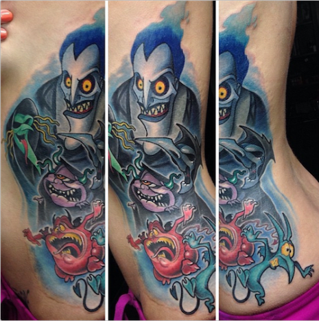 Let's start off easy. This villain-filled tattoo by London Reese is inspired by Disney's Hercules.
