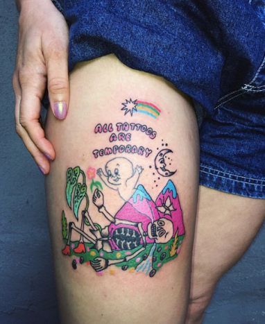 """While scrolling on Instagram, I came across this tattoo by artist Charline Bataille. I was at first draw to it because of the unique art style and vibrant color, however, what made me stay on the post was the script. """"All Tattoos are Temporary."""" What does that mean? Haven't we been told that tattoos are permanent? Well, yes. But here's why that's untrue."""