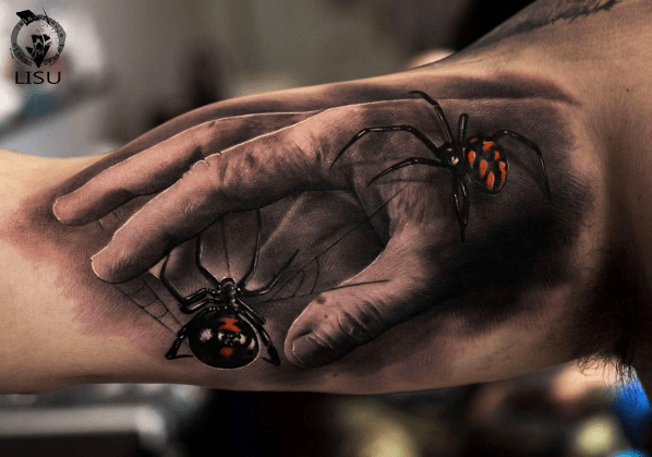 An awesome realistic hand with realistic spiders crawling over it, done by Lisu.