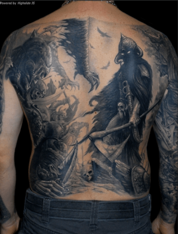 This epic battle scene made for one insane back piece.