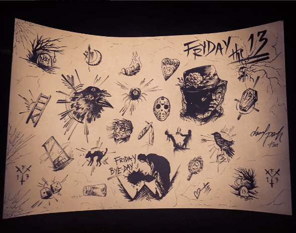 This sheet, full of dark imagery, and designs inspired by the prince of Friday the 13th, Jason Voorhies, was put together by Daniel Parish.