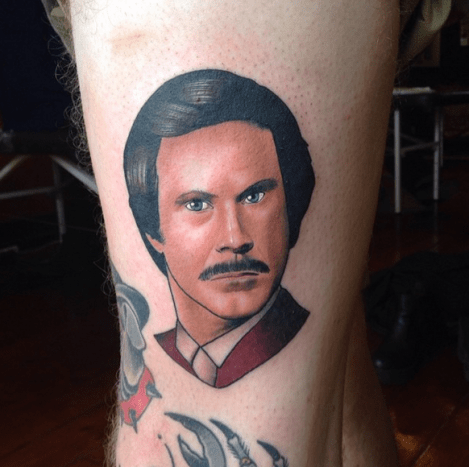 Ron Burgundy, Anchorman  Tattoo by Dan Molloy