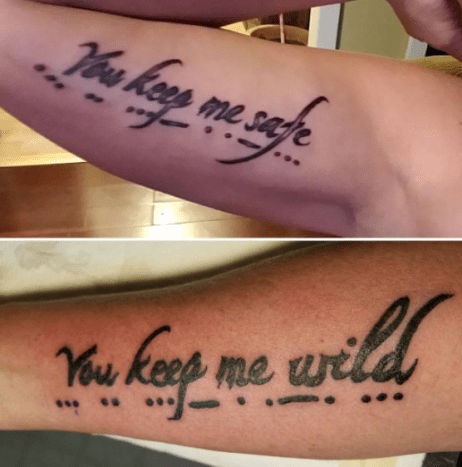 matching sister tattoos text