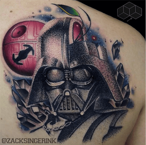 Insane dotwork and detail went into this Darth Vader by Zack Singer.