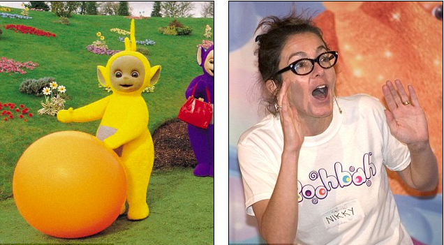Photo via entertainment imageReplying to a newspaper ad British actress Nikki Smedley, landed the role and Laa Laa from 1997 to 2001. Smedley, a successful dancer, choreographer, TV producer and director – confessed that working on The Teletubbies wasn't as easy as it seemed, siting 11-hour shifts and that the suits were heavy and hot.