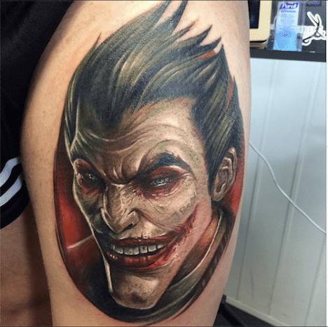 This is by far one of the best Joker tattoos we've come across.