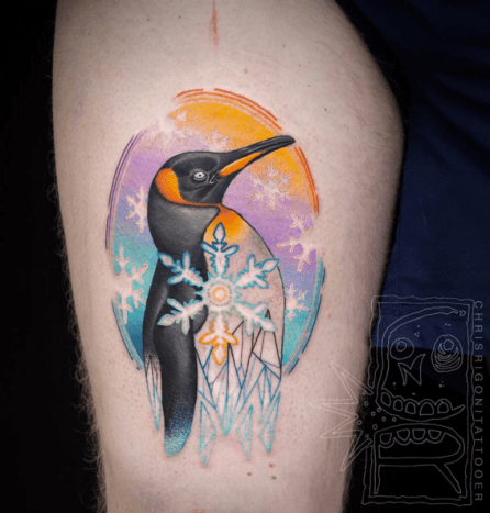 Obsessed with the colors and cut outs. Tattoo by Chris Rigoni
