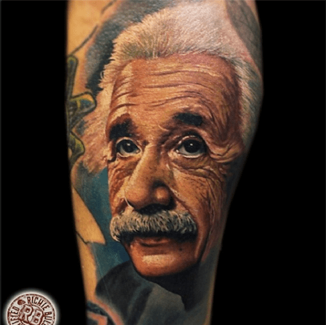 Edison may have helped create the tattoo machine, but Einstein gave us the iconic face for this tattoo.