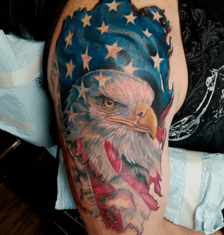 Patriotic Eagle and Flag USA Shoulder Tattoo