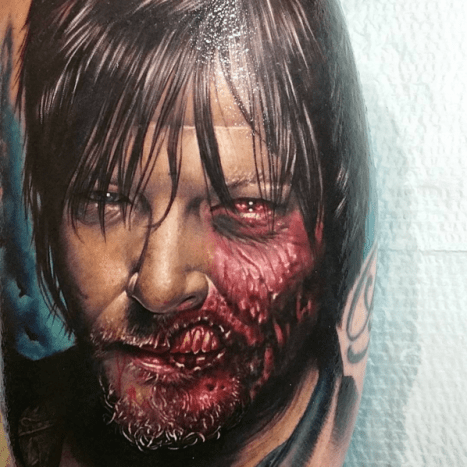 Daryl makes blood look yummy. Tattoo by Bumer