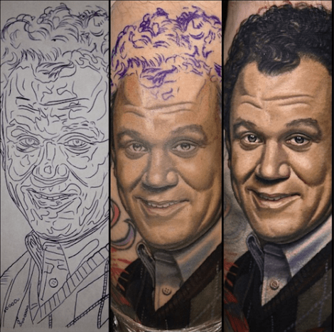 Nikko Hurtado tattooed this spiffy John C. Reilly from his role in Step Brothers. And yes, there is a matching Will Ferrell.