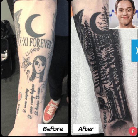 Pete got a cover up on his arm of ex-girlfriend Cazzie David's face. The cover up was done by Jon Mesa.
