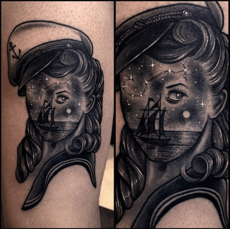 This mysterious lady is the work of Korean tattoo artist Varo.