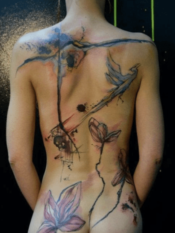 watercolor full back piece tattoo