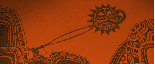 Maui's tattoos boast about his exploits, including this one in which he is shown slowing down the sun with his fish hook. The legend says that the sun was slowed from setting so that Maui's people could get more work accomplished.