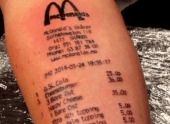 bad tattoo mcdonalds receipt