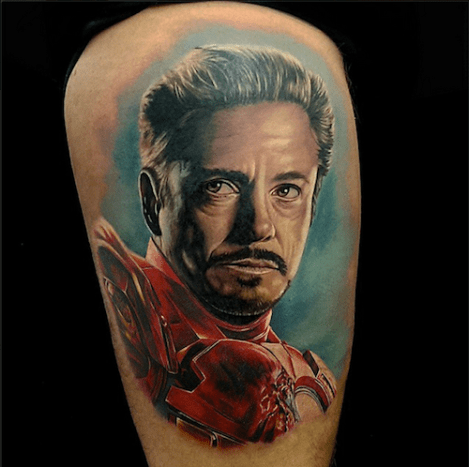 Tony Stark looks great as a tattoo.