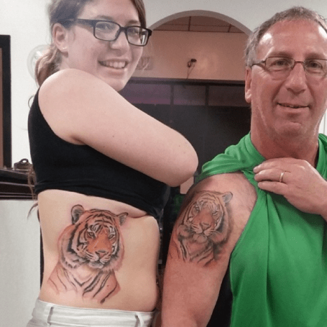 father daughter tattoos tigers
