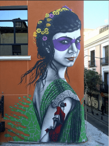 "This mural, ""Isabelita,"" is actually a repaint of Fin Dac's original."