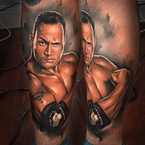 The most electrifying The Rock tattoo by Benjamin Laukis.