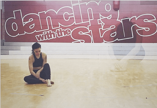 """Willis's Dancing with the Stars dance partner Valentin Chmerkovskiy posted this picture from their rehearsal on Instagram with a caption that read, """"People will never know the strength and courage that it took,"""" tagging Willis in the post."""