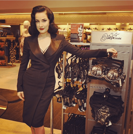 Dita Von Teese launches her Femme Fatale collection at Harrods in London.