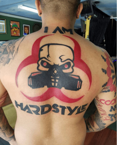 i am hardstyle back tattoo