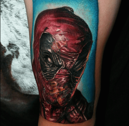 "Someone finally shut up the ""Merc with a Mouth. Ha! Awesome work by Carlox Angarita on this Deadpool tattoo."