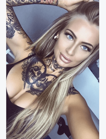 Girl with tattoo in sexy selfie