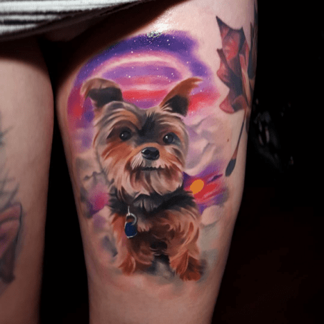 0c46a04b2 Sending love to Little Yorkie will you be mine? Tattoo by Tyler Malek