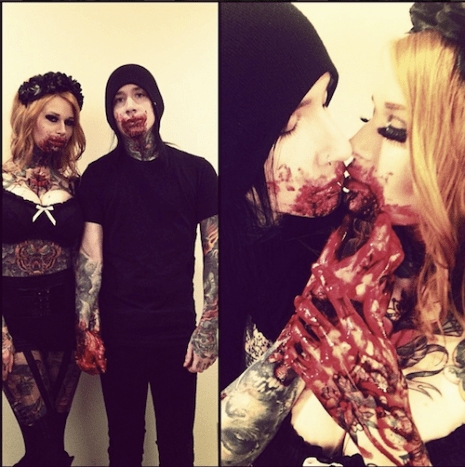 Tattoo artist Paul Acker and Inked Girl Mary-Leigh Maxwell make the cutest bloody valentines!