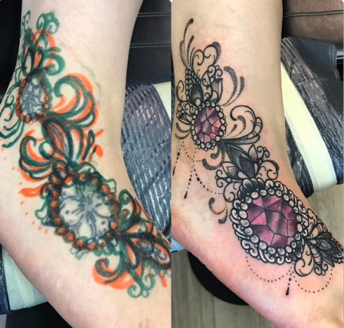 Great cover up on this person's foot by Aleksandra Jasmin.